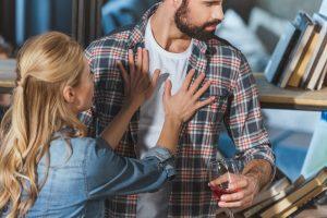Woman shoving man