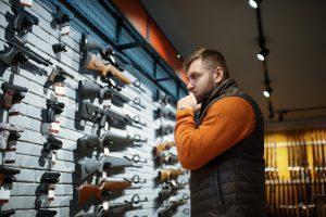 Man shopping for guns